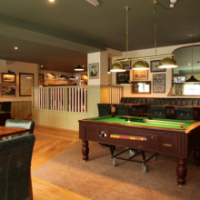Pool tables and sports area